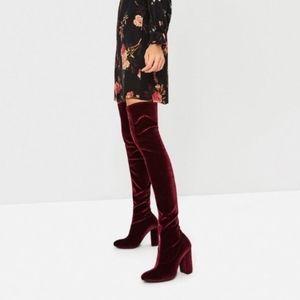 Zara Velvet Over-the-Knee Boots Size 38